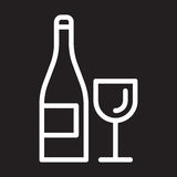 Wine bottle and glass line icon, white outline sign, vector illustration. Stock Photo