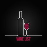 Wine bottle glass list design menu background Stock Photos
