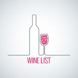 Wine bottle glass list menu background royalty free illustration