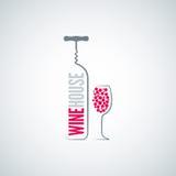 Wine bottle glass menu background stock illustration