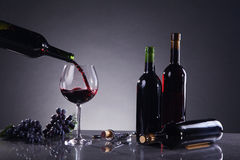 Wine in bottle and glass Stock Images