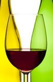 Wine bottle and glass with red wine Royalty Free Stock Photography