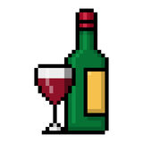 Wine bottle and a glass of red wine pixel art. Wine bottle and a glass of red wine in big pixels; Pixel art Royalty Free Stock Photography
