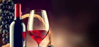 Wine. Bottle and glass of red wine with ripe grapes royalty free stock photography