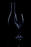 Wine bottle and glass. Stock Photos