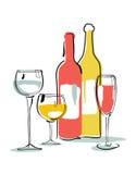 Wine bottle, glass silhouette Stock Image