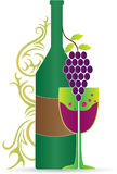 Wine bottle and glass. A vector drawing represents wine bottle and glass design vector illustration
