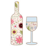 Wine bottle and glass vintage Royalty Free Stock Images