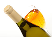 Wine bottle and glass with wine close up isolated Royalty Free Stock Photo