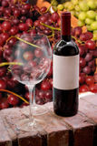 Wine Bottle and Glasses. A still life shot of a single wine bottle and a pair of empty glasses in front of some fresh grapes. Shallow depth of field royalty free stock photo