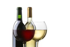 Wine bottle and glasses Royalty Free Stock Image