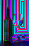Wine bottle and glasses royalty free stock photos