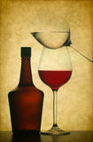 Wine bottle and glasses Stock Image