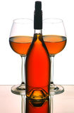 Wine bottle & glasses stock photography