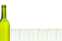 Wine bottle and glasses border Stock Photography