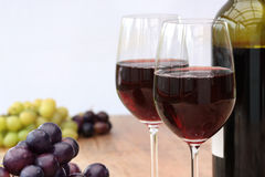 Wine Bottle, Glasses & Grapes Stock Images