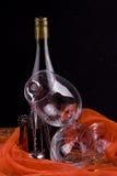 Wine bottle, glasses & opener stock photos