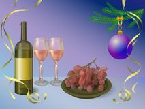 Wine bottle with glasses and red grapes - Happy New year vector background Royalty Free Stock Photo