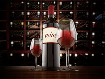 Wine bottle and glasses on winery table. 3D illustration Stock Image