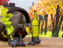Wine bottle and glasses on wooden table Stock Images