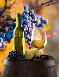 Wine bottle and glasses on wooden table Royalty Free Stock Images