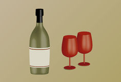 Wine bottle and goblets Stock Image