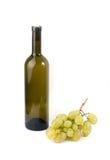 Wine bottle and grape. Isolated on white background stock photo