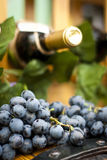 Wine bottle, grape an leaves on a wood barrel stock images