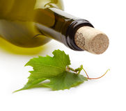 Wine bottle and grape vine Royalty Free Stock Photos