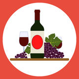 Wine bottle and grape Royalty Free Stock Photo
