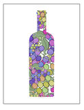 Wine bottle with grapes bottle silhouette retro illustration art Royalty Free Stock Photos