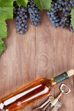 Wine bottle and grapes on garden table Stock Photos