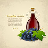 Wine bottle with grapes. Wine bottle with  grapes  on old paper background. Vector illustration Royalty Free Stock Photo