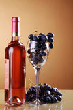 Wine in bottle and grapes Royalty Free Stock Photography