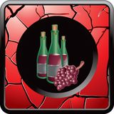 Wine bottle and grapes in red cracked web button Royalty Free Stock Photos