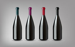 Wine Bottle with On grey Background Isolated. Ready For Your Des Stock Photo