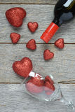 Wine Bottle with Hearts Royalty Free Stock Photo