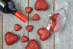 Wine Bottle with Hearts Royalty Free Stock Images