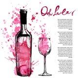 Wine bottle illustration Stock Image