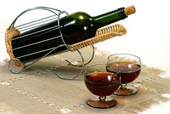 Wine Bottle In Basket Stock Photography