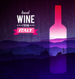 Wine bottle with the landscape of Tuscany Stock Images