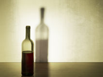 Wine bottle with large shadow. Retro style filter. Stock Photos