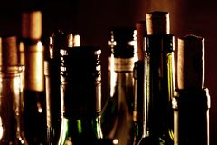 Wine bottle necks Stock Photography