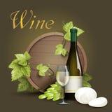 Wine bottle and oak barrel background Royalty Free Stock Photos