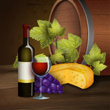 Wine bottle and oak barrel background Royalty Free Stock Images