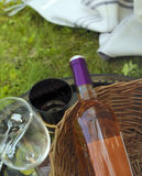 Wine Bottle At Picnic Royalty Free Stock Images