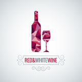 Wine bottle poly design vector background Royalty Free Stock Photo