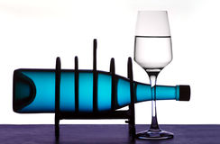 Wine bottle on rack Royalty Free Stock Photo