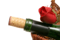 Wine bottle & red rose Stock Image