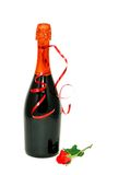 Wine bottle and red rose isolated on white Stock Images